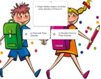 pytanie i możliwości odpowiedzi; w tle obrazek przedstawiający chłopca i dziewczynkę z tornistrami