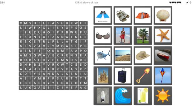 wykreślanka - spośród liter w rzędach i kolumnach trzeba znaleźć słowa w j. angielskim kojarzące się z wakacjami i dopasować do nich odpowiedni obrazek