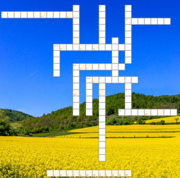 krzyżówka; w tle ukwiecona na żółto łąka i zielone drzewa; błękitne, bezchmurne niebo