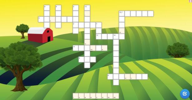 krzyżówka; w tle obrazek przedstawiający pola, łąki, drzewa i czerwony domek