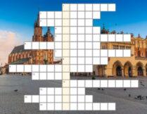 krzyżówka; w tle zdjęcie przedsawiające Rynek Główny w Krakowie