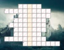 krzyżówka; w tle obrazek przedstawiający dom otoczony ciemnymi chmurami; panuje atmosfera mroku, tajemniczości
