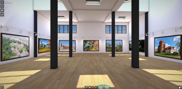 obrazek przedstawia salę; na ścianach są zdjęcia zamków i pałaców na Mazowszu