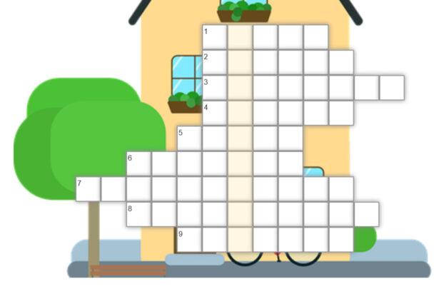 krzyżówka; w tle obrazek przedstawiający domek i drzewo