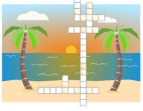 krzyżówka; w tle obrazek przedstawiający plażę, palmy, morze i zachodzące słońce