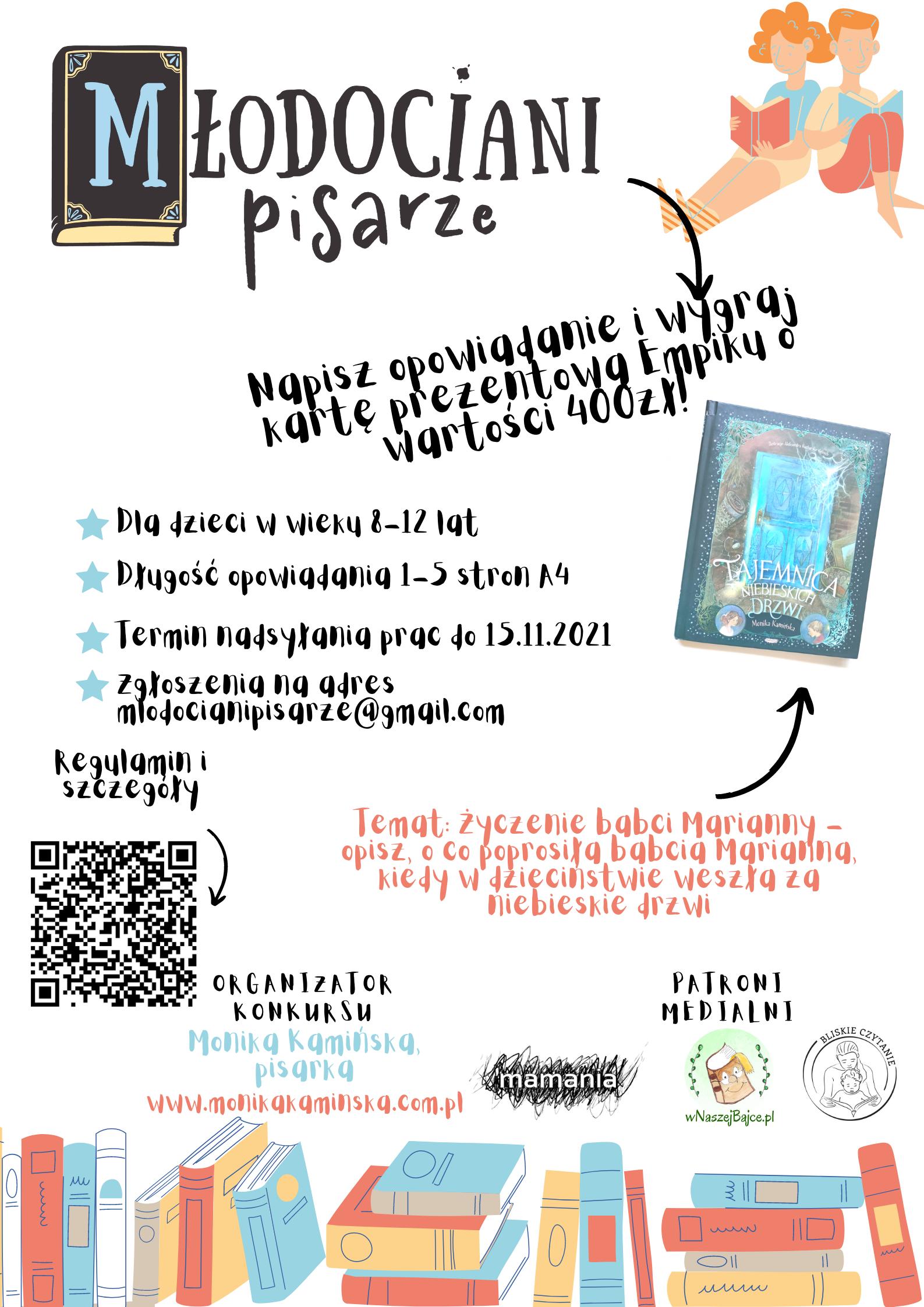 """Plakat zapraszający do udziału w konkursie literackim dla dzieci """"Młodociani pisarze""""."""