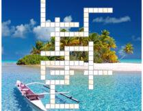 krzyżówka; w tle zdjęcie przedstawiające tropikalną małą wyspę z palmami, plażą; przy wyspie na krystalicznie czystej wodzie jest mała łódka
