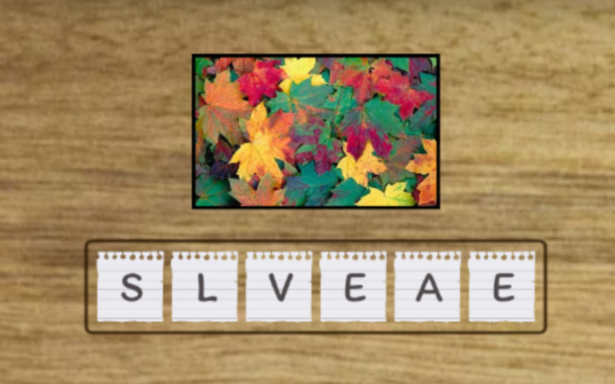 obrazek przedstawia łamigłówkę, polegającą na ułożeniu słowa z rozsypanych liter; nad literami widnieją kolorowe liście