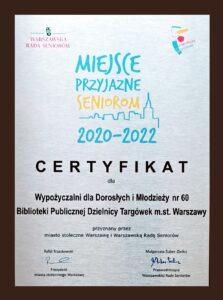 """Certyfikat """"Miejsce Przyjazne Seniorom 2020-2022"""""""