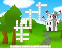 krzyżówka; w tle obrazek przedstawiający zamek otoczony drzewami i prowadzącą do niego ścieżkę