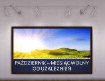 zdjęcie ilustrujące wystawę książek poruszających zagadnienia uzależnień; na zdjęciu góry w blasku słońca i bezchmurne niebo
