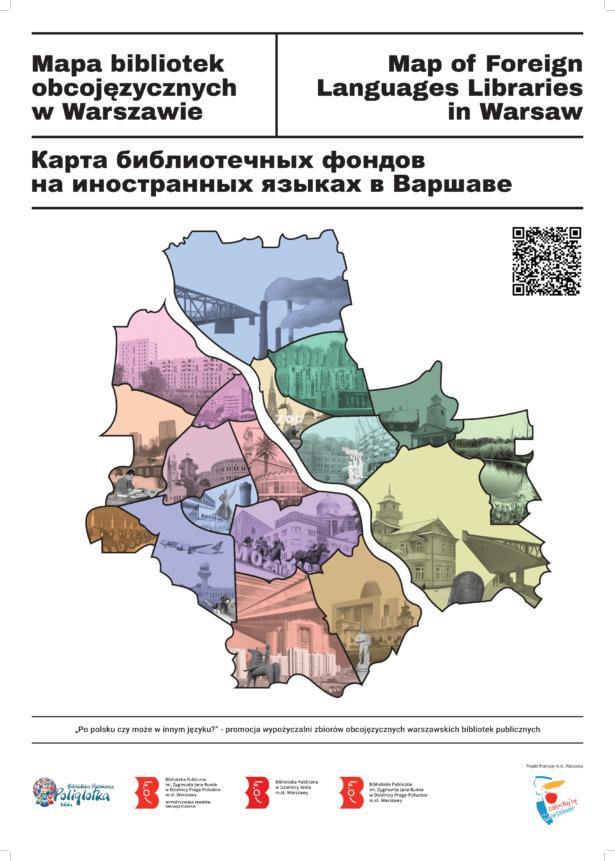 biblioteki obcojęzyczne w Warszawie; ilustracja przedstawia mapę Warszawy z podziałem na dzielnice